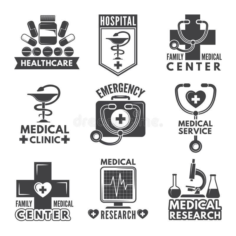 Apotheek, chemie of geneeskunde geplaatste etiketten Vector zwart-wit emblemenmalplaatje royalty-vrije illustratie