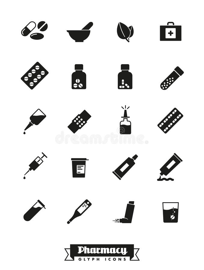 Apotheek en geneeskunde glyph pictogrammen vectorinzameling stock illustratie