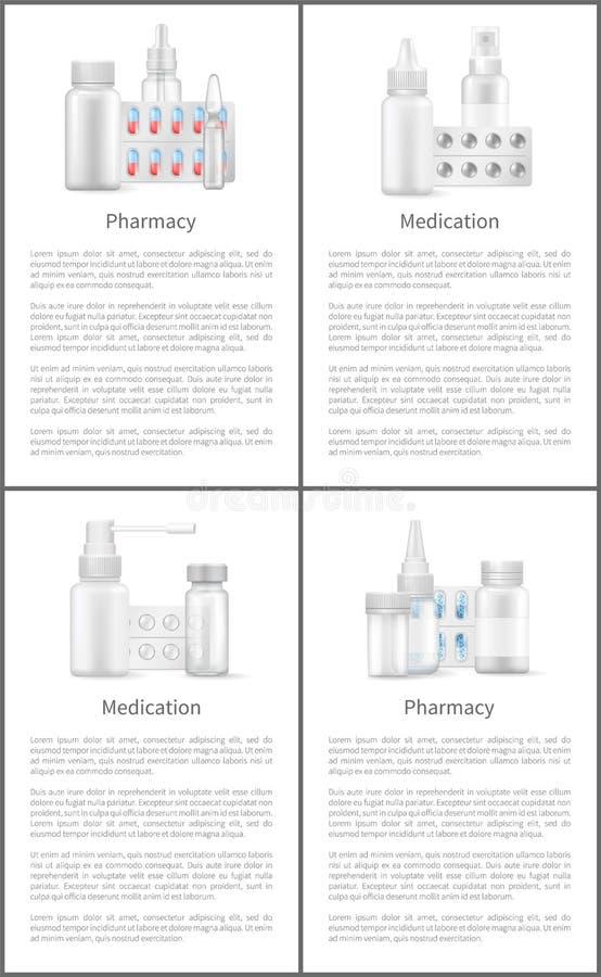 Apotheek en Medicijnaffiches met Containers stock illustratie