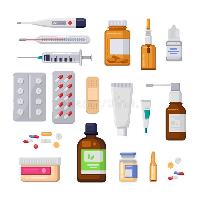 Apotheek, geneeskunde en gezondheidszorg vlakke illustratie Pillen, drugs, flessenpictogrammen en ontwerpelementen vector illustratie