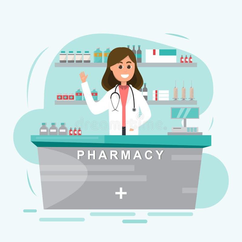 Apotheek met verpleegster in teller het karakterdesi van het drogisterijbeeldverhaal stock illustratie