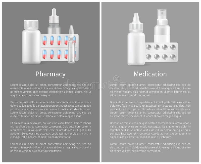 Apotheekaffiche met Containers voor Medische Pillen stock illustratie