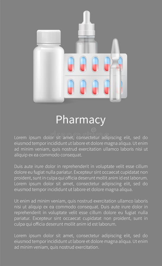 Apotheekaffiche met Containers voor Medische Pillen vector illustratie
