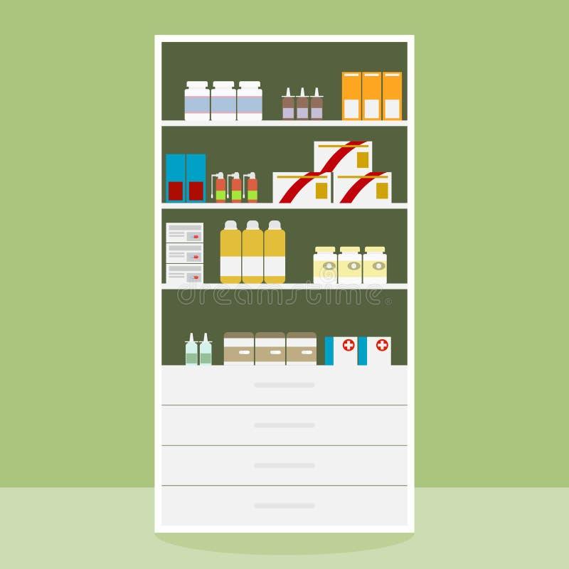 Apotheekplank met medicijn, medicijn in de apotheekplank vector illustratie