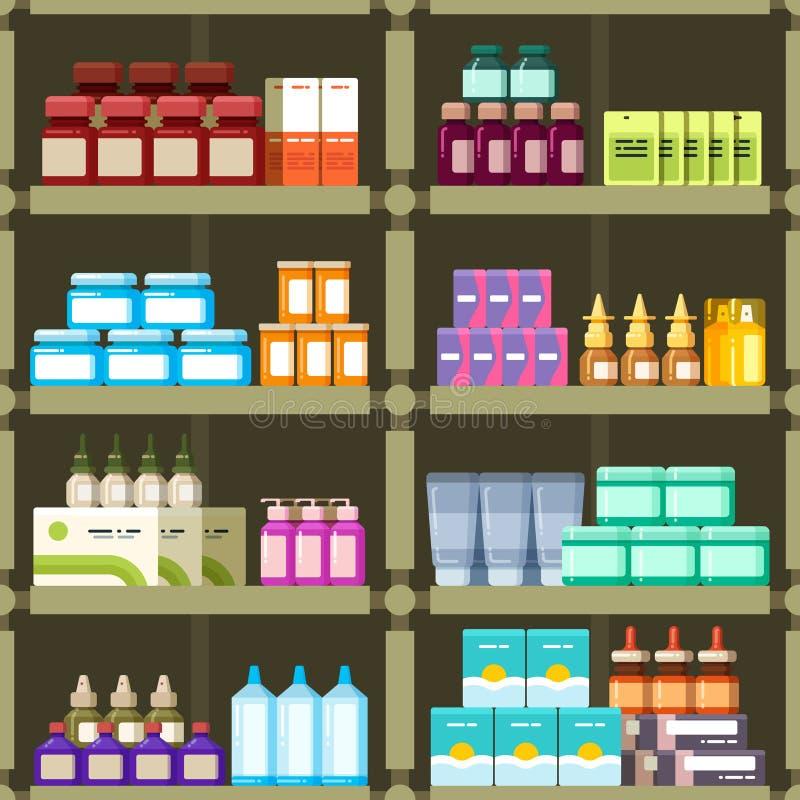 Apotheekplanken met pillen en drugs het vector naadloze patroon van geneeskundedozen stock illustratie