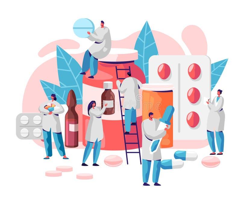 Apotheken-Geschäfts-Medizin-Drogerie-Charakter Apotheker Care für Patienten Professionelle pharmazeutische Wissenschaft On-line-P stock abbildung