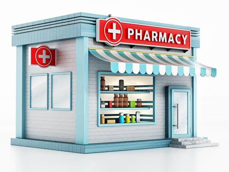Apothekengebäude lokalisiert auf weißem Hintergrund Abbildung 3D lizenzfreie abbildung