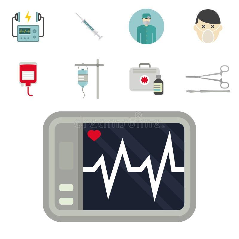 Apothekenpillenstützsanitäterbehandlung des Krankenwagenikonenvektormedizingesundheitsnotkrankenhauses dringende stock abbildung