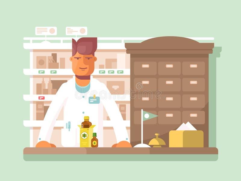 Apotheker bij de apotheek royalty-vrije illustratie
