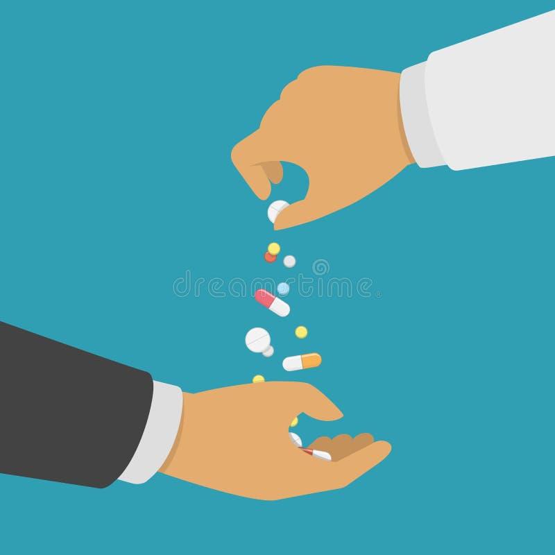 Apotheker die geneeskunde geven royalty-vrije illustratie