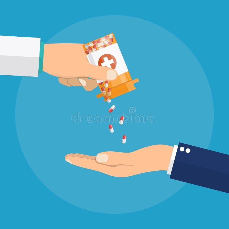 Apotheker die geneeskundepillen geven aan patiënt royalty-vrije illustratie