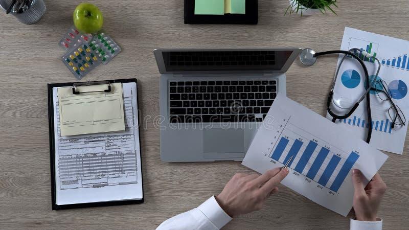 Apotheker die statistieken van geneeskundeverkoop bestuderen, farmaceutisch marktonderzoek royalty-vrije stock foto