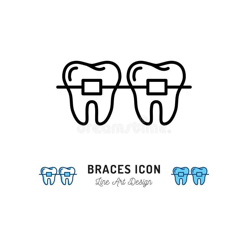 Apoya el icono, cuidado dental de la estomatología Los apoyos de los dientes enrarecen la línea iconos del arte Ilustración del v stock de ilustración