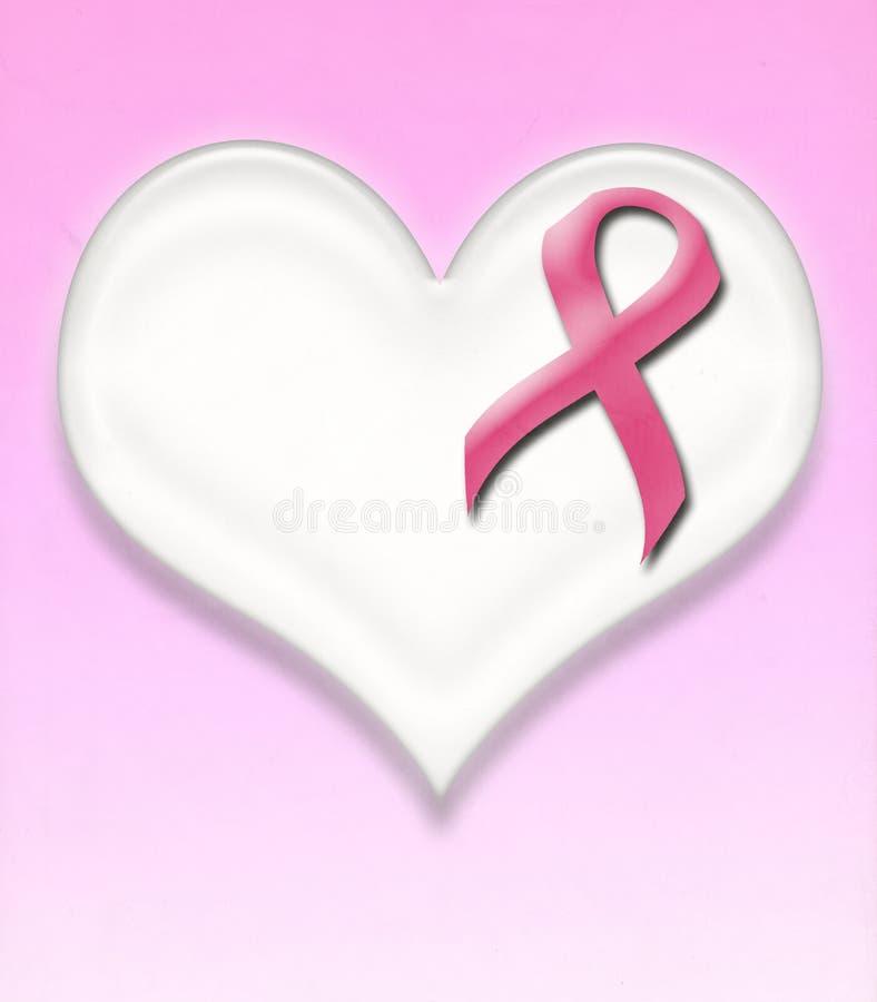 Apoye el perno de la cinta del rosa del cáncer de pecho en corazón foto de archivo libre de regalías