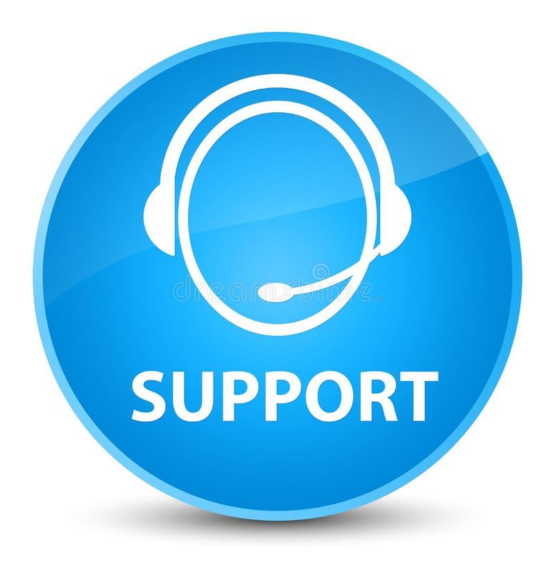 Apoye (icono del cuidado del cliente) el botón redondo azul ciánico elegante ilustración del vector