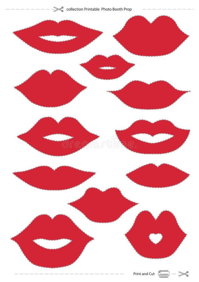 Apoyo imprimible de la cabina de la foto de la colección de los labios libre illustration