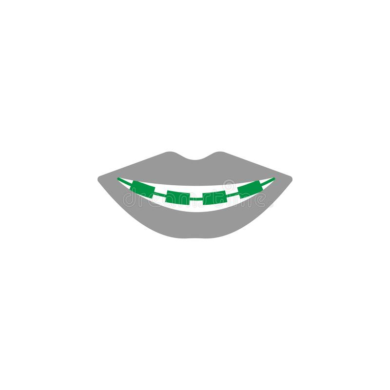 Apoyos e icono de los soportes Elemento del icono del cuidado dental para los apps móviles del concepto y de la web Los apoyos y  stock de ilustración