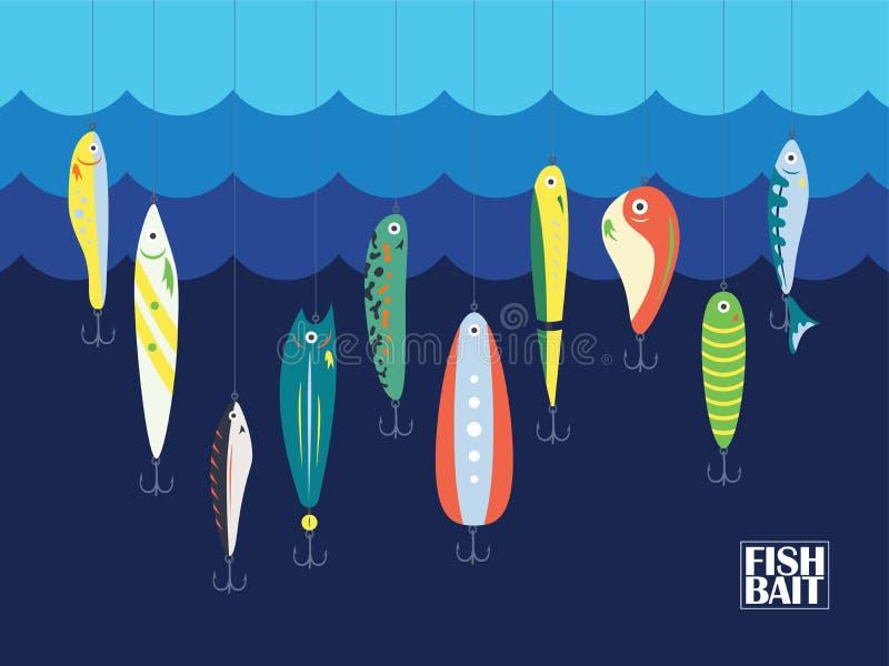 Appât de couleur différente avec de grands et petits poissons de bande dessinée en océan ou mer Marine Background With Baits bleu illustration libre de droits