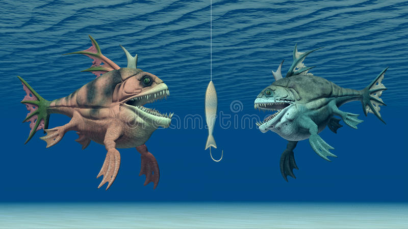 Appât et poissons monstrueux illustration de vecteur