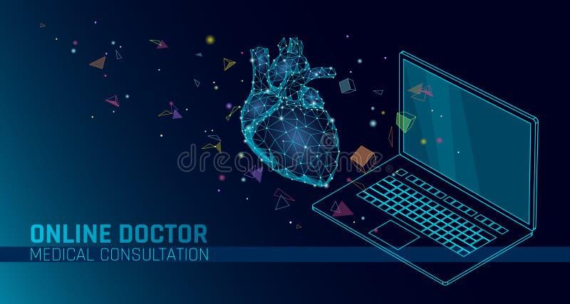 app医生网上医疗机动性应用 数字式医疗保健医学诊断概念横幅 人的心脏膝上型计算机 皇族释放例证