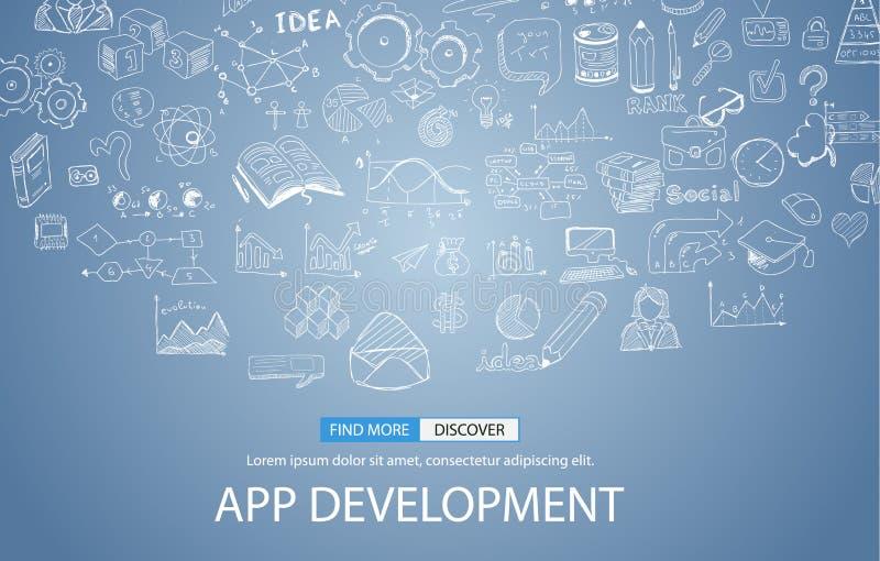 App发展与乱画设计样式的概念背景:用户界面, 皇族释放例证