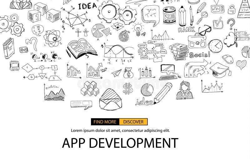 App发展与乱画设计样式的概念背景 库存例证