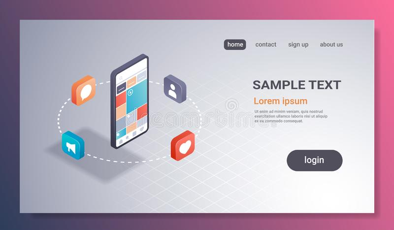 App έννοιας διοικητικών εφαρμογών μέσων οθόνης Smartphone κοινωνική smm σε απευθείας σύνδεση κινητή ψηφιακή τεχνολογία διεπαφών τ ελεύθερη απεικόνιση δικαιώματος