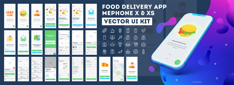 App παράδοσης τροφίμων κινητή ui εξάρτηση συμπεριλαμβανομένου του σημαδιού επάνω, των επιλογών τροφίμων, της κράτησης και της εγχ διανυσματική απεικόνιση