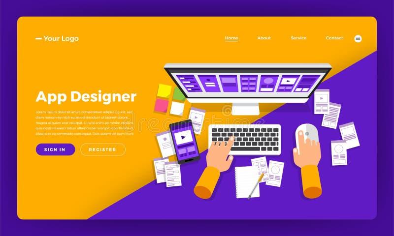App έννοιας σχεδίου ιστοχώρου σχεδίου προτύπων ο επίπεδος σχεδιαστής δημιουργεί το α απεικόνιση αποθεμάτων