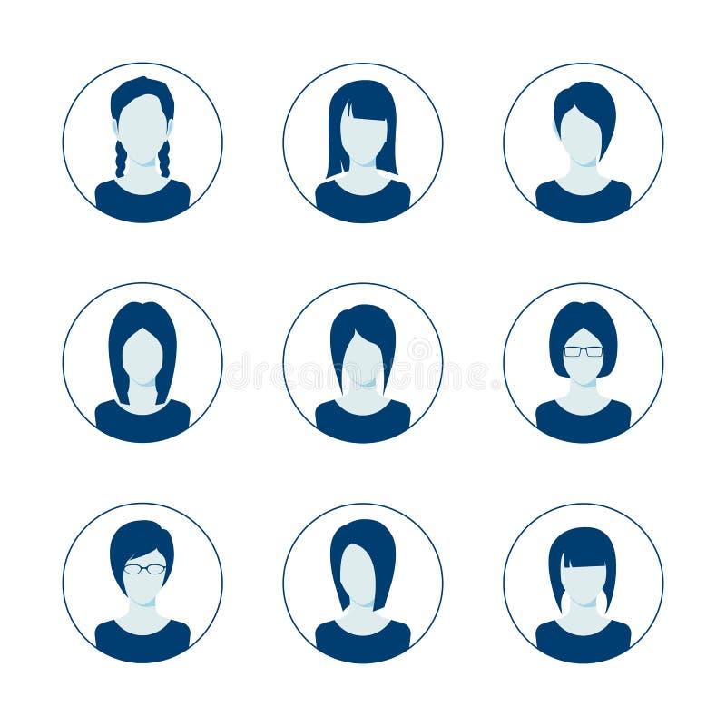 App ή σχεδιαγράμματος ανώνυμο σύνολο εικονιδίων χρηστών Σύνολο θηλυκού προτύπου ειδώλων προσώπων Συλλογή εικονιδίων χρηστών ελεύθερη απεικόνιση δικαιώματος