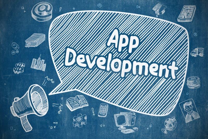 App ανάπτυξη - απεικόνιση κινούμενων σχεδίων στον μπλε πίνακα κιμωλίας διανυσματική απεικόνιση
