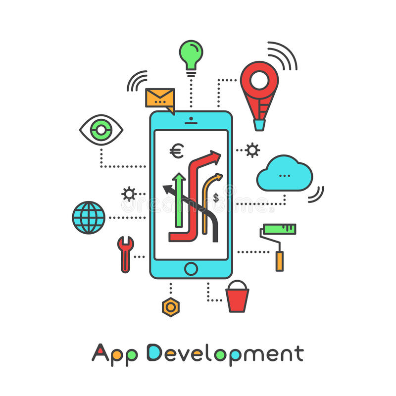 App ανάπτυξη και κτίσιμο εφαρμογής με το διανυσματικό ύφος απλό Illu εικονιδίων αποθήκευσης σβόλων, θέσης Geo, ανακοινώσεων και τ διανυσματική απεικόνιση