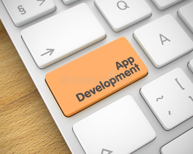 App ανάπτυξη - μήνυμα στο πορτοκαλί κλειδί πληκτρολογίων τρισδιάστατος διανυσματική απεικόνιση