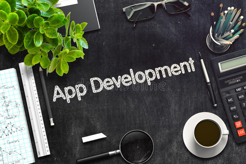App ανάπτυξη στο μαύρο πίνακα κιμωλίας τρισδιάστατη απόδοση ελεύθερη απεικόνιση δικαιώματος