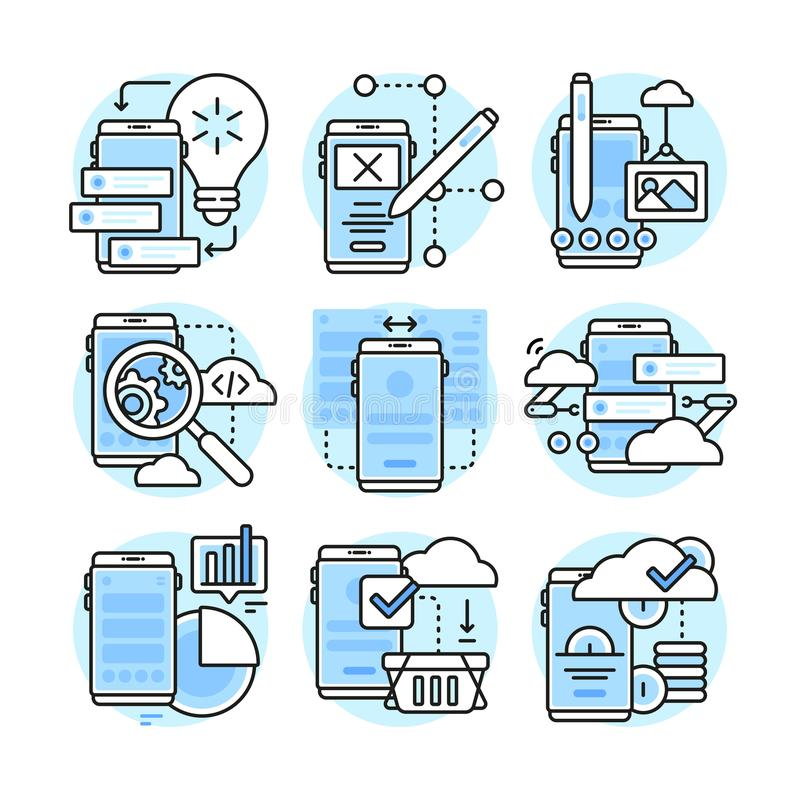 App ανάπτυξη, Ui, Ux Επίπεδη απεικόνιση γραμμών ελεύθερη απεικόνιση δικαιώματος