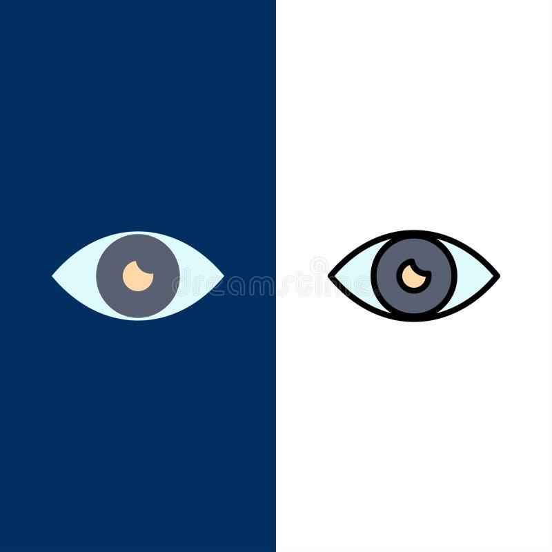 App, βασικό εικονίδιο, σχέδιο, μάτι, κινητά εικονίδια Επίπεδος και γραμμή γέμισε το καθορισμένο διανυσματικό μπλε υπόβαθρο εικονι απεικόνιση αποθεμάτων