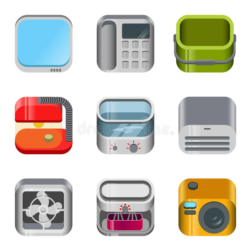 App εγχώριας ηλεκτρονικής στιλπνό διανυσματικό σύνολο εικονιδίων διανυσματική απεικόνιση