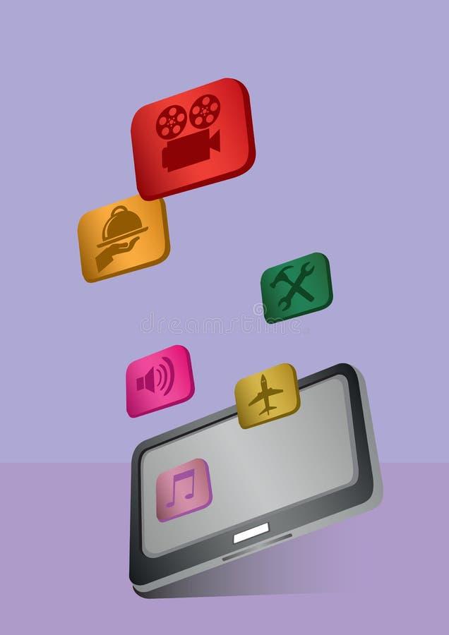App εικονίδια και υπολογιστής ταμπλετών απεικόνιση αποθεμάτων