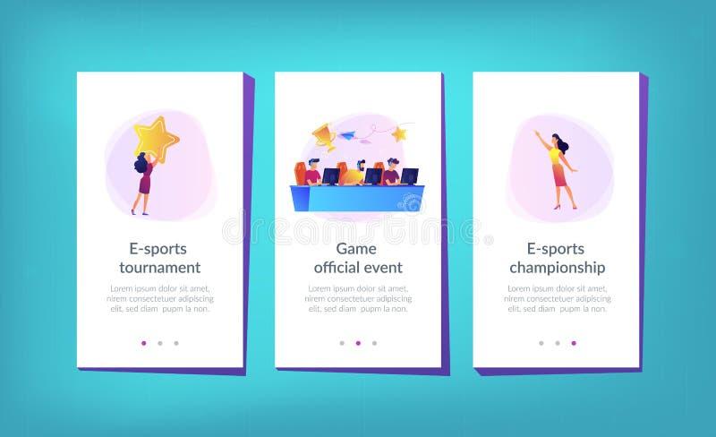 App ε-αθλητικών πρωταθλημάτων πρότυπο διεπαφών διανυσματική απεικόνιση