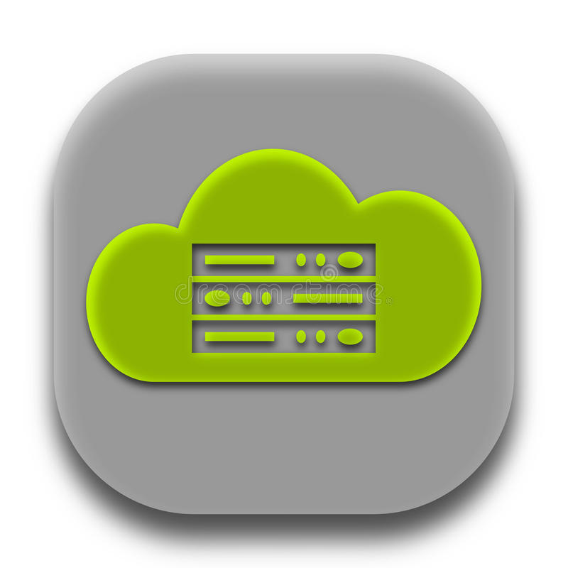 App κεντρικών υπολογιστών σύννεφων φιλοξενώντας λογότυπο ελεύθερη απεικόνιση δικαιώματος