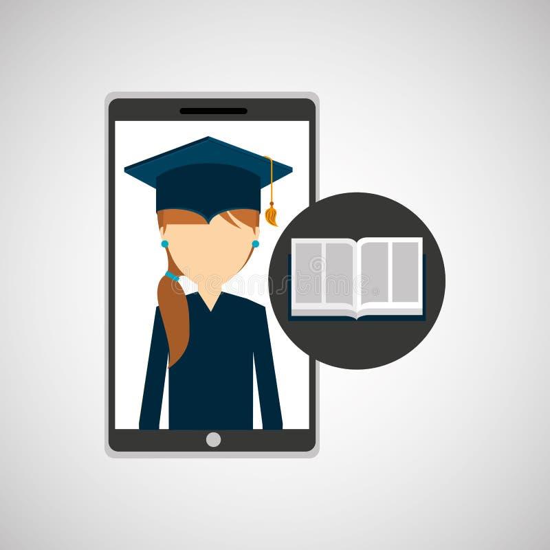 App κοριτσιών σε απευθείας σύνδεση ε-εκμάθηση εκπαίδευσης απεικόνιση αποθεμάτων