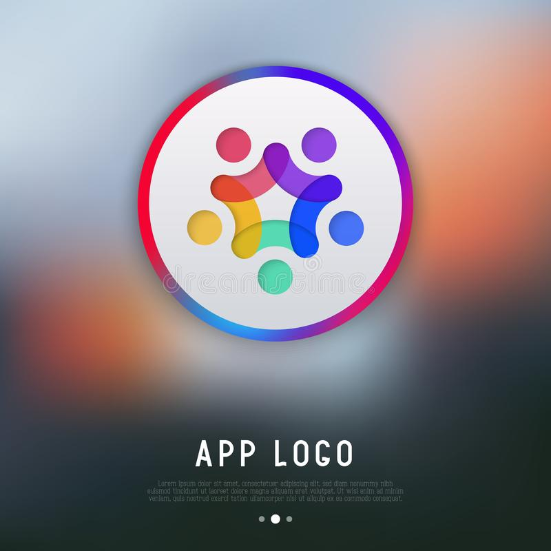 App λογότυπο για τον αγγελιοφόρο: άνθρωποι με τα χέρια επάνω απεικόνιση αποθεμάτων