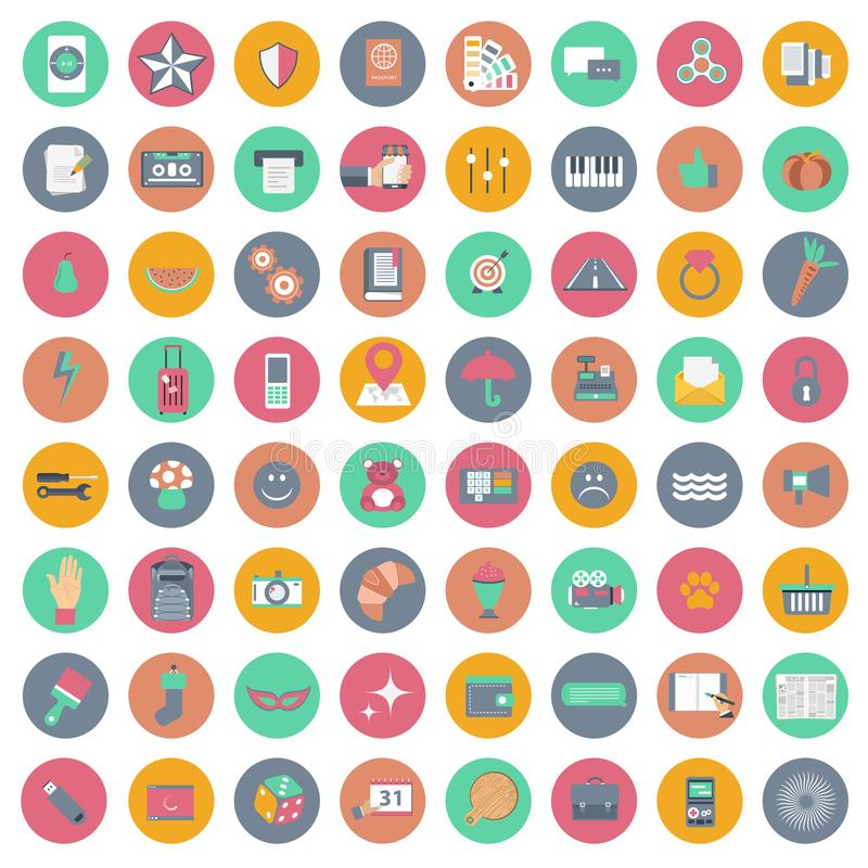 App σύνολο εικονιδίων Εικονίδια για τους ιστοχώρους και κινητές εφαρμογές επίπεδος ελεύθερη απεικόνιση δικαιώματος