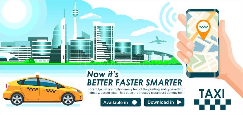 App ταξί έμβλημα Σύγχρονη υψηλή τεχνολογία κτηρίων οριζόντων πόλεων & χάρτης ΠΣΤ smartphone αμαξιών ταξί επίσης υπό εξέταση Πρότυ διανυσματική απεικόνιση