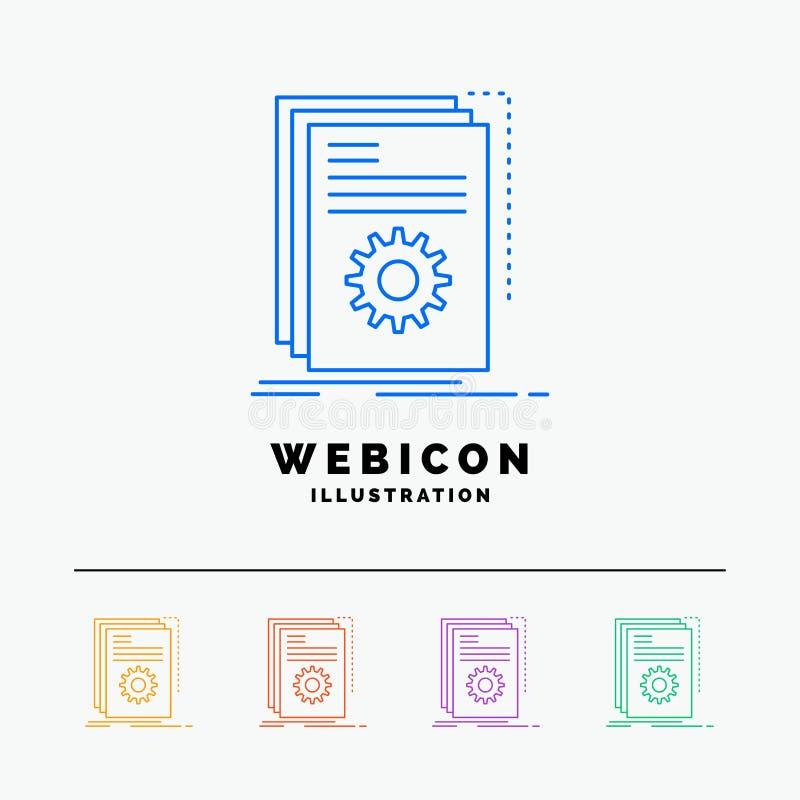 App, χτίζει, υπεύθυνος για την ανάπτυξη, πρόγραμμα, χειρόγραφο 5 πρότυπο εικονιδίων Ιστού γραμμών χρώματος που απομονώνεται στο λ ελεύθερη απεικόνιση δικαιώματος