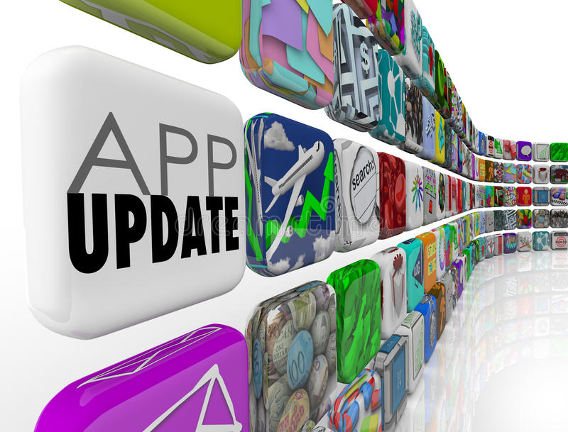 App更新3d瓦片应用程序软件升级Patc 向量例证