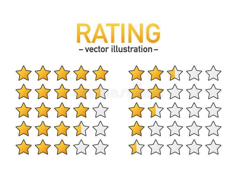 五星对估计的象传染媒介 网站或应用程序的被隔绝的徽章 星顾客产品规定值回顾 r 库存例证