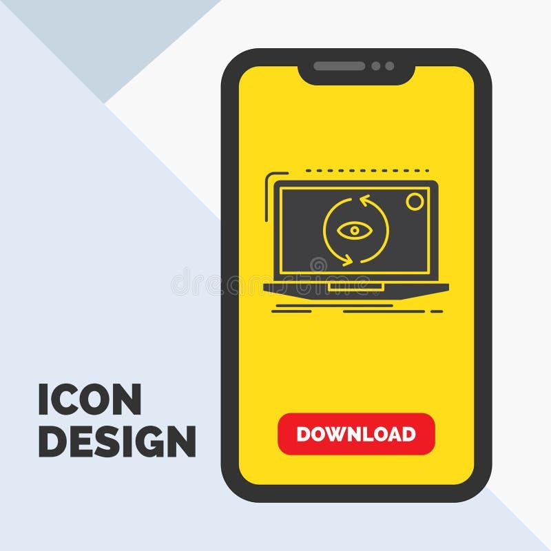 App, Anwendung, neu, Software, Aktualisierung Glyph-Ikone im Mobile für Download-Seite Gelber Hintergrund vektor abbildung