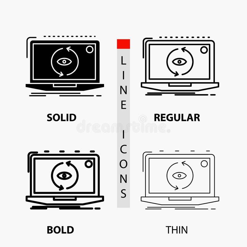 App, Anwendung, neues, Software, Aktualisierung Ikone in der dünnen, regelmäßigen, mutigen Linie und in der Glyph-Art Auch im cor lizenzfreie abbildung