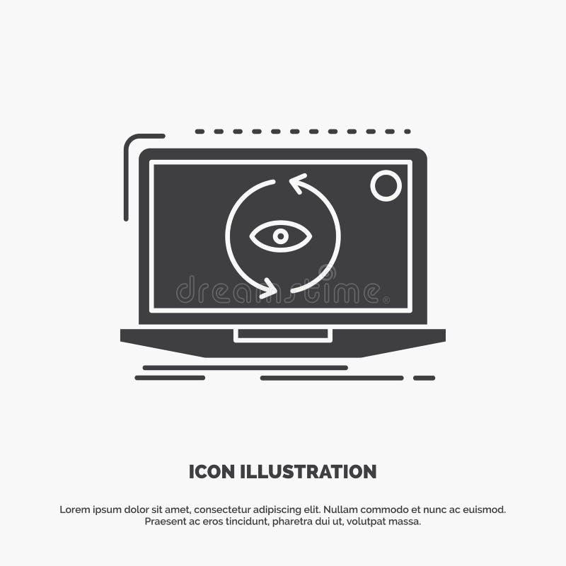 App, aplicação, nova, software, ícone da atualização s?mbolo cinzento do vetor do glyph para UI e UX, Web site ou aplica??o m?vel ilustração do vetor